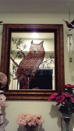 Antique owl large heavy mirror perfect heavy old for Sale in Las Vegas, NV