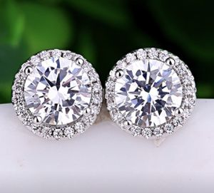 Elegant White Topaz AAA CZ Diamond Round Cut Princess 925 Silver Earrings Four Claws Ear Studs Women Wedding for Sale in Moreno Valley, CA