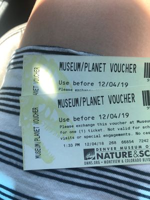 Museum admission tickets for Denver Museum of Nature and Science for Sale in CO, US