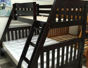 twin full wood bunk bed new with mattress included new for Sale in West Palm Beach, FL