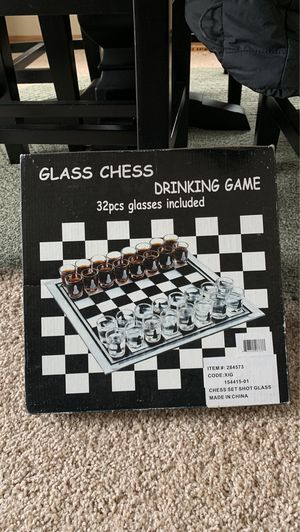NIB: Glass chess drinking game for Sale in Lake Hallie, WI