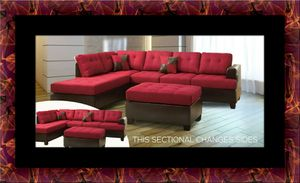 Red sectional with ottoman for Sale in Silver Spring, MD