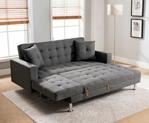 GRAY LINEN FABRIC Tufted Sectional Sofa Bed with Reversible Chaise COUCH for Sale in Rancho Cucamonga, CA
