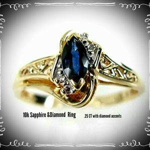 Natural Sapphire & Diamond Ring Sz 7 10k for Sale in Madison Heights, VA