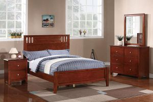 Bedroom set Cherry 4 pcs . Frame Full , nightstand, dresser and mirrow . New. Firm price for Sale in Anaheim, CA
