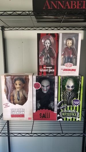 5 Brand new Horror Mezco Dolls - 3 of the 15 inch talking and 2 living dead dolls!!! Beetlejuice, Leatherface, Shining, Ghostface for Sale in Sunnyvale, CA
