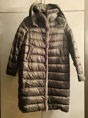Max Mara Grey weekend puffy coat with rabbit trim for Sale for sale  New York, NY
