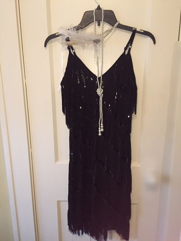 Black Sequence in Fringe dress with Accessories