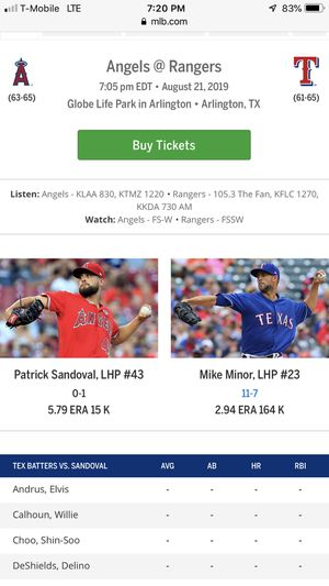 4 Texas Rangers Tickets for Sale in Dallas, TX