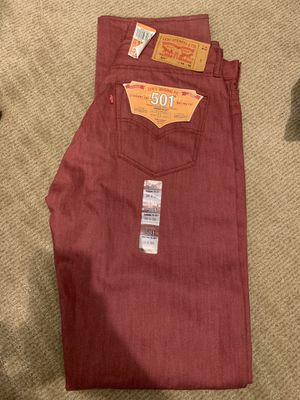 Levi 501 shrink to fit cranberry red 34w x 36L for Sale in Maricopa, AZ