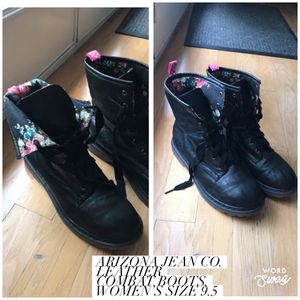 Arizona Jean Co. Leather Combat Boots with Floral Print Women's Size 9.5 for Sale in Bloomington, IL