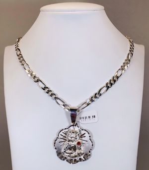 """925 Sterling Silver """"Fígaro"""" Link Chain With """"St Barbara"""" Medallion for Sale in Tampa, FL"""