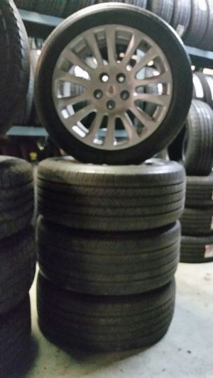 """Set of 18"""" inch Cadillac rims 5x120 with Michelin tires 235/50/18 for Sale in St. Louis, MO"""