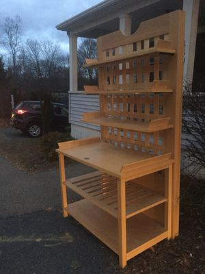 sturdy wood storage shelving unit with lights-Emile Henry -France for Sale in Boston, MA