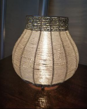 Silver Table lamp. Night light. Beaded lamp for Sale in Hollywood, FL