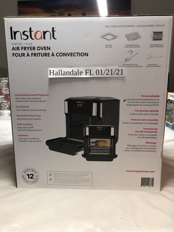 New Instant Vortex Plus 10QT 7-in-1 Digital Air Fryer Oven, with Rotisserie Spit, Drip Pan & 2 Cooking trays