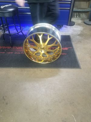 "22"" gold forgiato rims and tires for Sale in Rockwall, TX"