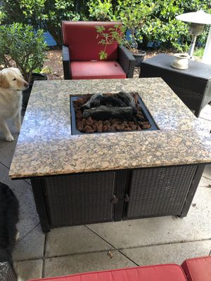 Granite Gas Fire pit with Patio Furniture for Sale in Santee, CA