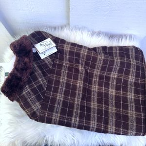 """""""Outdoor Dog"""" Brown Plaid Doggy Sweater: fur collared, pet clothes, puppy, animal jacket for Sale in San Diego, CA"""