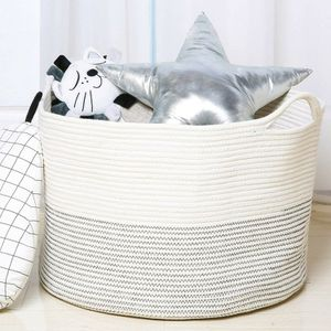 White Laundry Basket Hamper for Blankets Toys Storage with Handle for Sale in La Habra Heights, CA