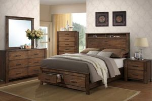 RUSTIC QUEEN STORAGE BED FREE DELIVERY for Sale in US