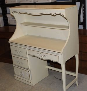 "Vintage Solid Wood White Desk w/ Hutch 44""x18""x52"" for Sale in Silver Spring, MD"