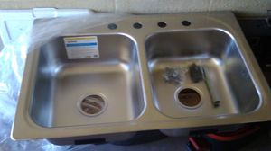 Moen satin stainless double equal bowls kitchen sink for Sale in Phoenix, AZ