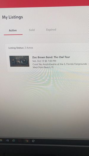 2 Zac Brown Concert Tickets for 10/19 at Coral Amphitheater for Sale in Miami, FL