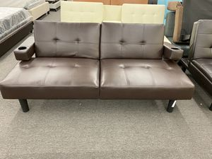 Brown Faux Leather Sofa Futon with side Cupholders Modern Design Retails $199, Our Price $149 TM* for Sale in Houston, TX