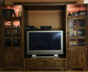 Solid oak entertainment center for Sale in Lacey, WA