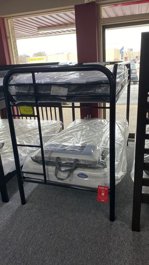 Black Metal Bunkbed Twin over Twin Size Bunk Bed Only 9EG7 for Sale in Euless, TX