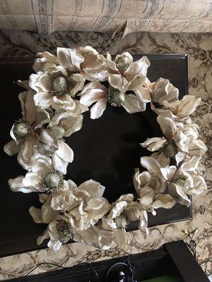 White glitter floral wreath for Sale in Richmond, VA