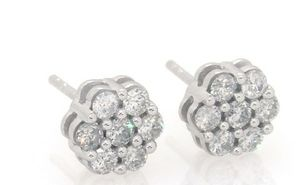 White Gold earrings with real diamonds for Sale in Long Beach, CA