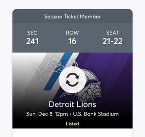 Vikings vs Lions - $150 per ticket for Sale in Minneapolis, MN