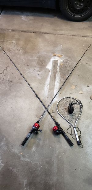 Fishing rods and reels + net for Sale in Aurora, IL