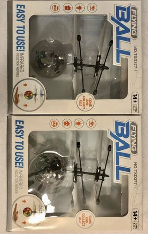 Pack of 2 Magic Electric Flying Ball Helicopter Crystal LED Light Infrared Senso for Sale in Riverview, FL