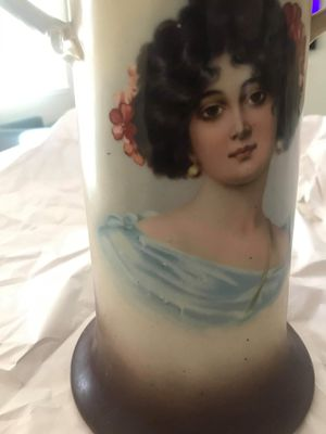 Antique Warwick China IOGA Twig Handled Tall Vase Portrait of Provocative for Sale in Murrieta, CA
