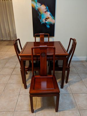 Antique Rosewood Mahjong table w/ matching chairs. for Sale in Sarasota, FL