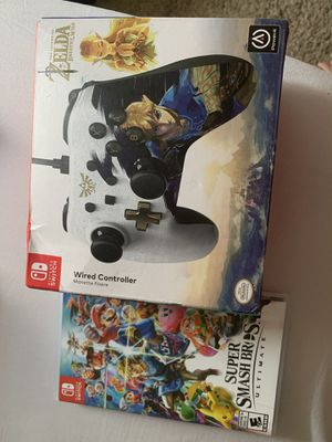 Super Smash Bros Ultimate and Wired Controller Nintendo Switch for Sale in Winter Springs, FL