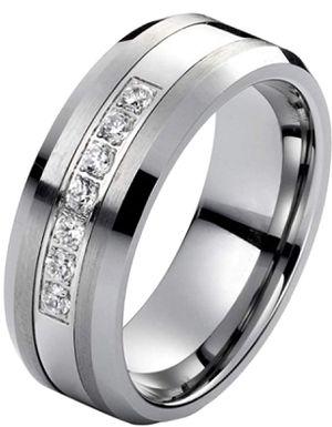 1/4ct Diamond Wedding Band in Tungsten Carbide and Platinum for Sale in Marietta, GA