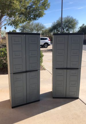 Two plastic storage cabinets with shelves for Sale in Glendale, AZ