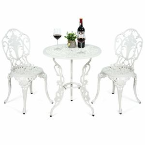 3 Pcs Patio Table and Chairs Furniture Bistro Set Cast Aluminum For Outdoor Porch Garden (White) for Sale in Santa Clarita, CA