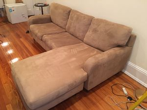 Sleeper sofa (Queen) Stone colored microfiber suede for Sale in Washington, DC