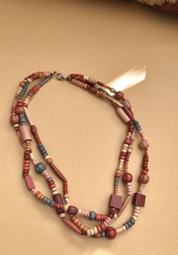 Funky Vibrant Triple Strand Wooden Bead Necklace