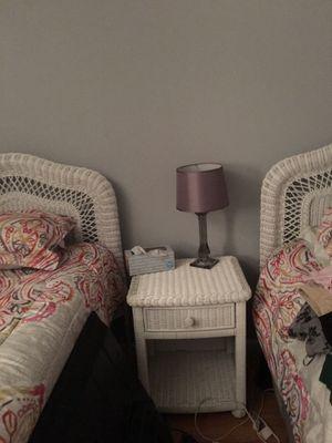 White wicker twin headboards(2) , dresser ,mirror, chest , 2 night stands for Sale in Matawan, NJ