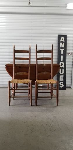 Project Antique Knotty Pine Dropleaf Table & Two Chairs for Sale in Frisco,  TX