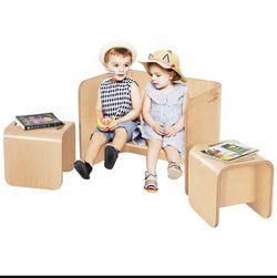 P1-22 ... 3 Piece Kids Wooden Table & Chair Set Children Multipurpose Homeschool Furniture for Sale in Diamond Bar,  CA