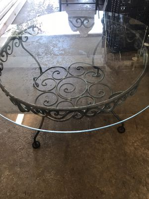 Antique finish Wrought iron table base with plate glass top for Sale in Lombard, IL