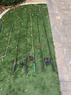 5-fishing poles With Three reels for Sale in Boulder City,  NV