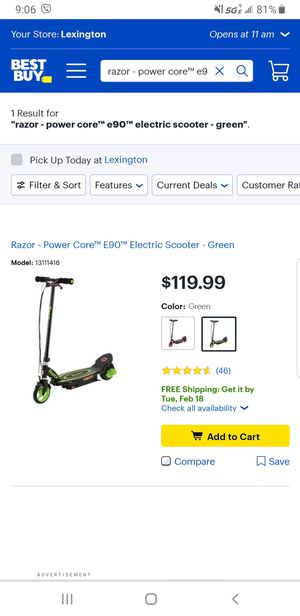 Razor - Power Core™ E90™ Electric Scooter - Green for Sale in Nicholasville, KY